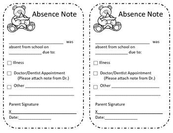Absent Note for School Absence Excuse From School Note by atoz