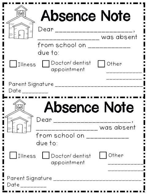 Absent Note for School Absence Note Printable Printable