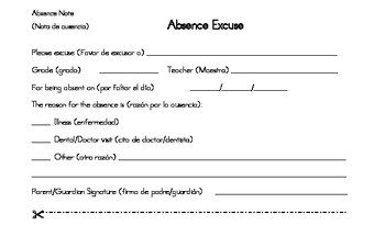 Absent Note for School Excused Absence Note for Spanish Speaking Families by