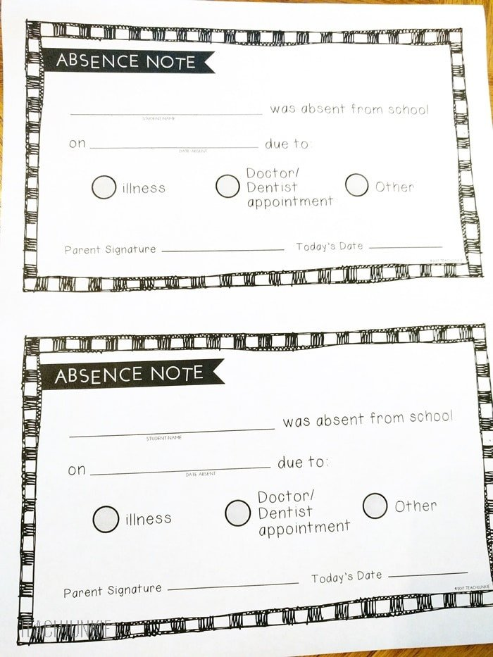 Absent Note for School Free Printable Absence Notes for the Elementary Classroom