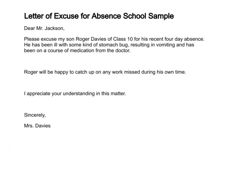 Absent Note for School Letter Of Excuse