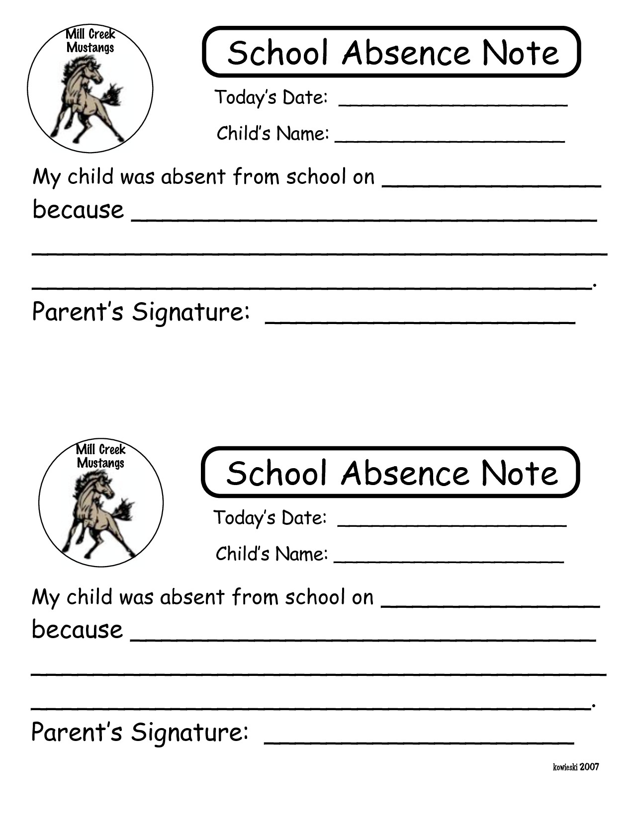 Absent Note for School Printable Notes for School Absence to Pin On