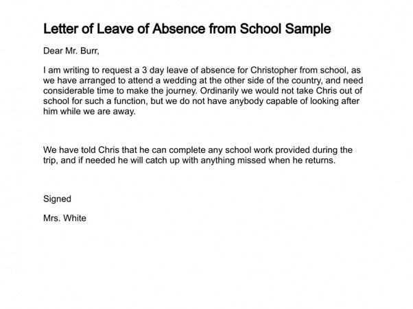 Absent Note for School What is A Good Sample Letter to Write An Absence From