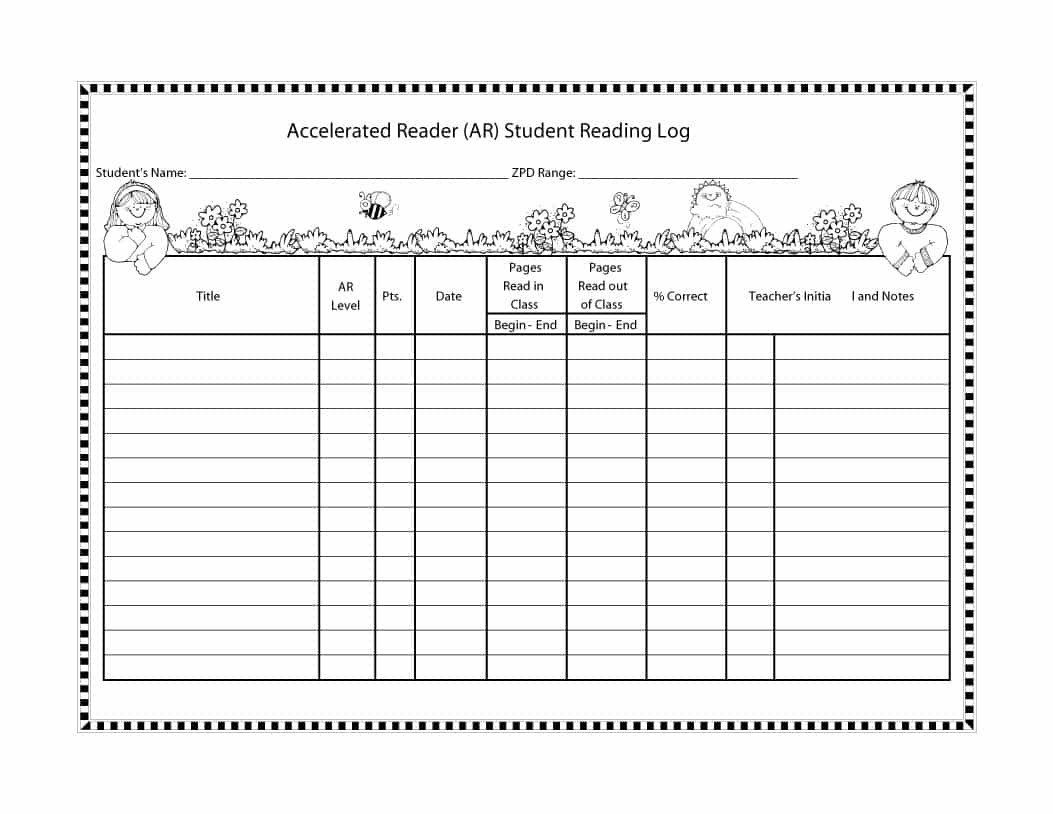 Accelerated Reading Log 47 Printable Reading Log Templates for Kids Middle School
