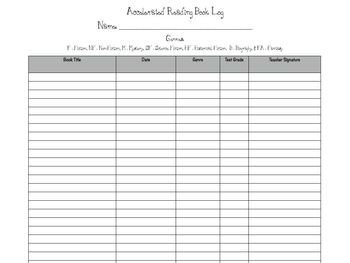 Accelerated Reading Log Accelerated Reader Book Log Management Sheets by Free to