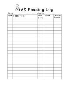 Accelerated Reading Log Accelerated Reading Logs for Students to Pin On