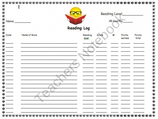 Accelerated Reading Log Ar Accelerated Reader Reading Log Reading