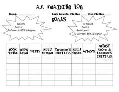 Accelerated Reading Log Ar Library On Pinterest