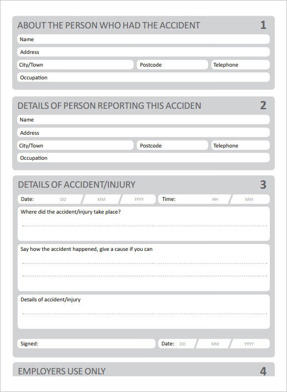 Accident Reporting form Template 20 Accident Report Templates Docs Pages Pdf Word