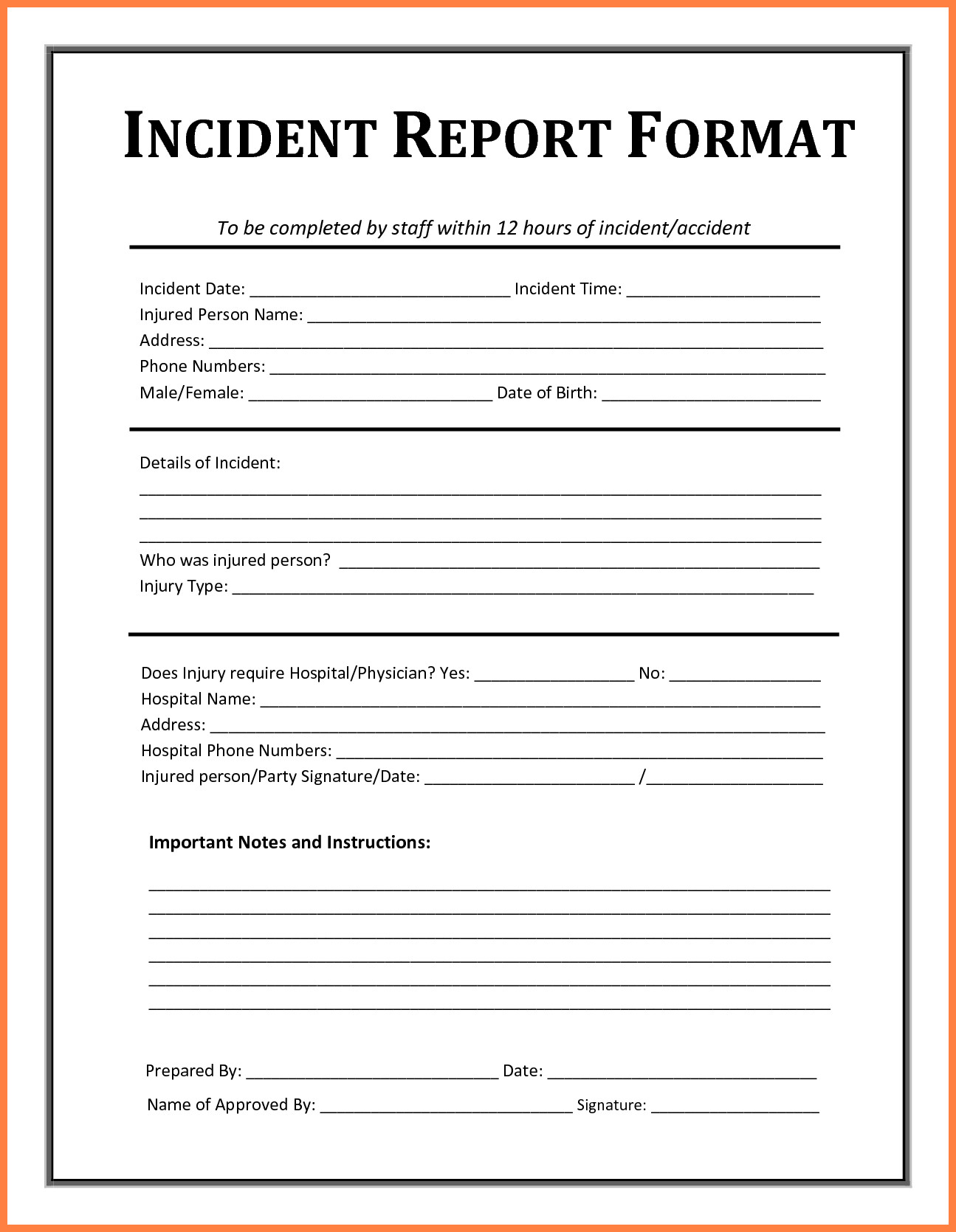 Accident Reporting form Template 4 Accident Incident Report form Template