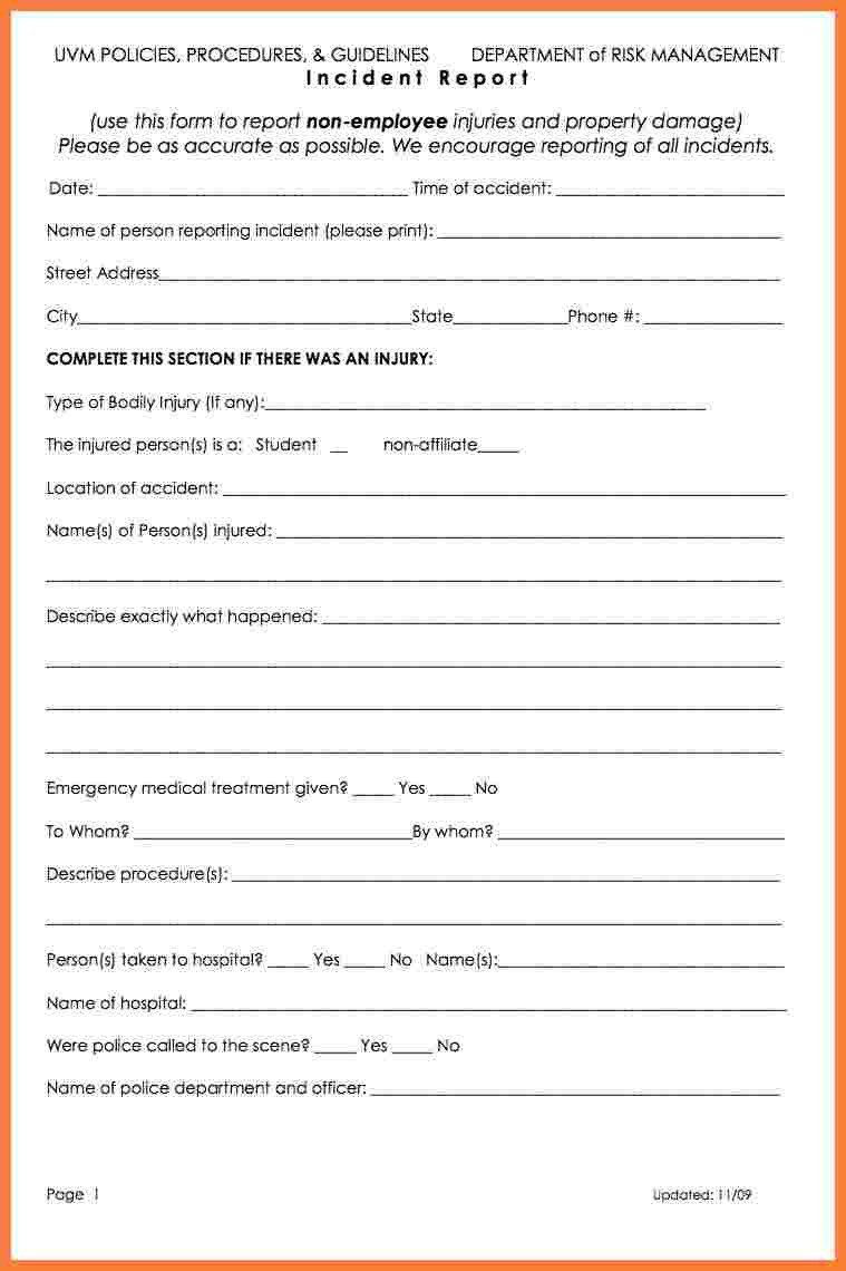 Accident Reporting form Template 5 Workplace Accident Report form Template