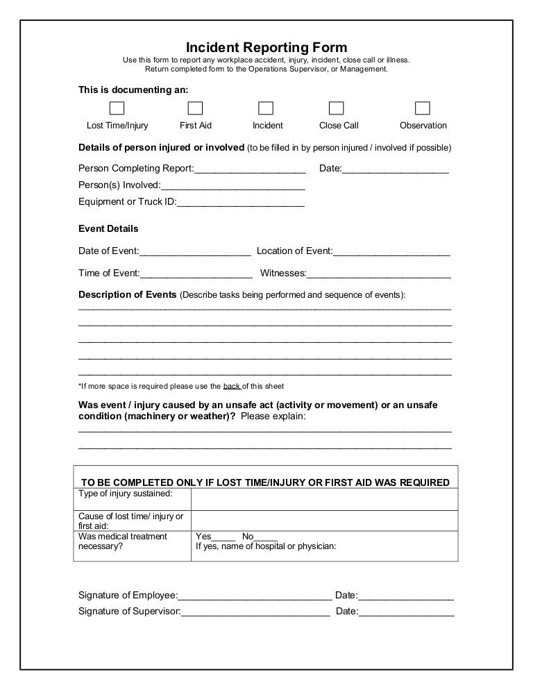 Accident Reporting form Template Incident Reporting form