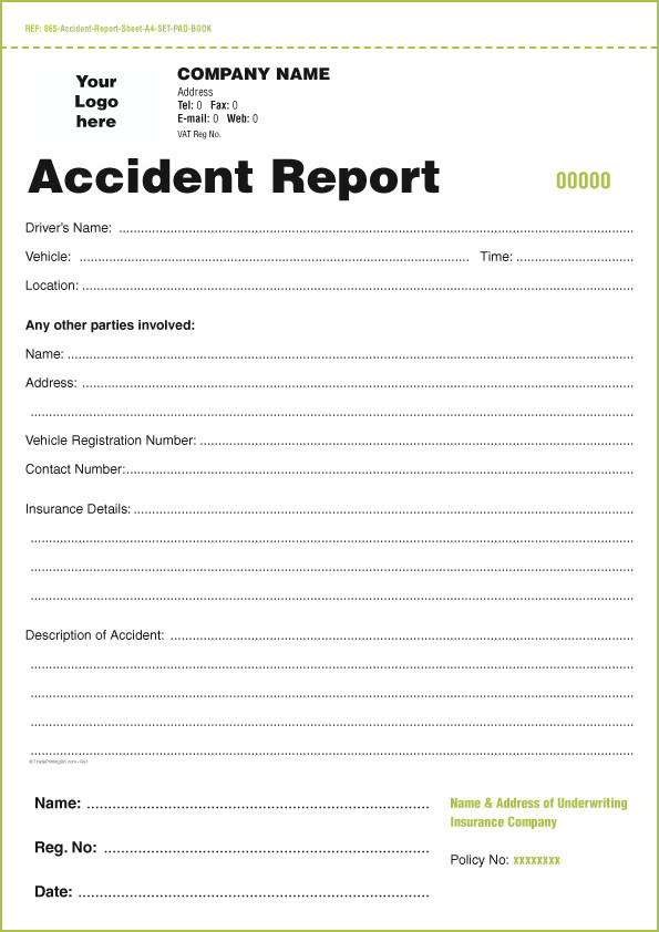 Accident Reporting form Template Templates for Accident Report Book and Vehicle Condition