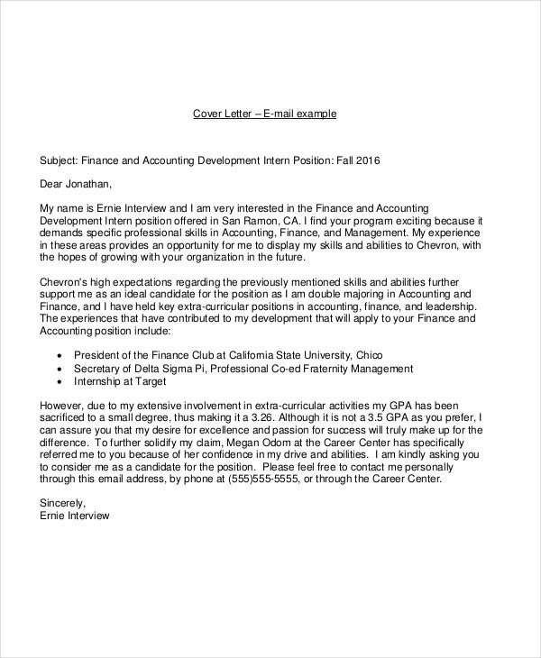 Accounting Internship Cover Letter 19 Email Cover Letter Templates and Examples