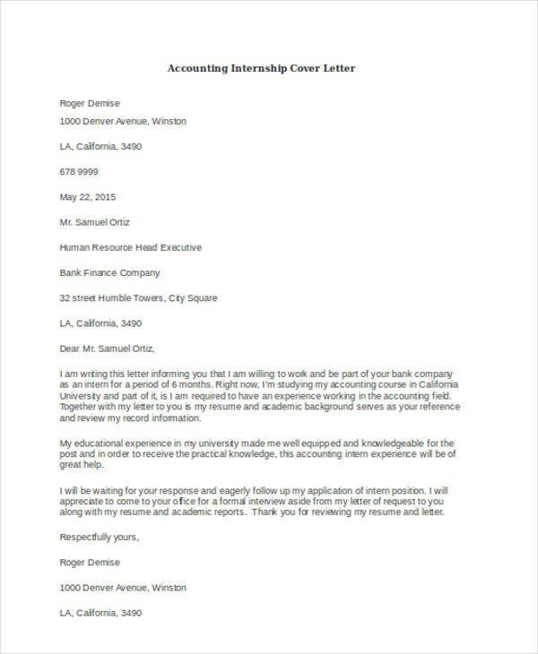 Accounting Internship Cover Letter 46 Cover Letter Samples