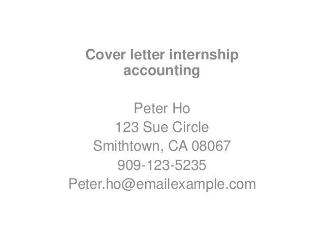 Accounting Internship Cover Letter Application Letter Sample Internship Cover Letter Sample