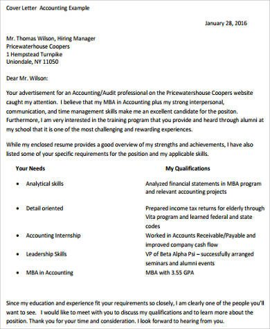 Accounting Internship Cover Letter Sample Accounting Cover Letter 8 Examples In Word Pdf