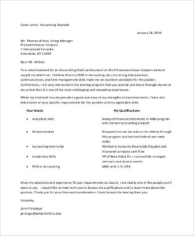 Accounting Internship Cover Letter Sample Accounting Cover Letter 9 Examples In Pdf Word