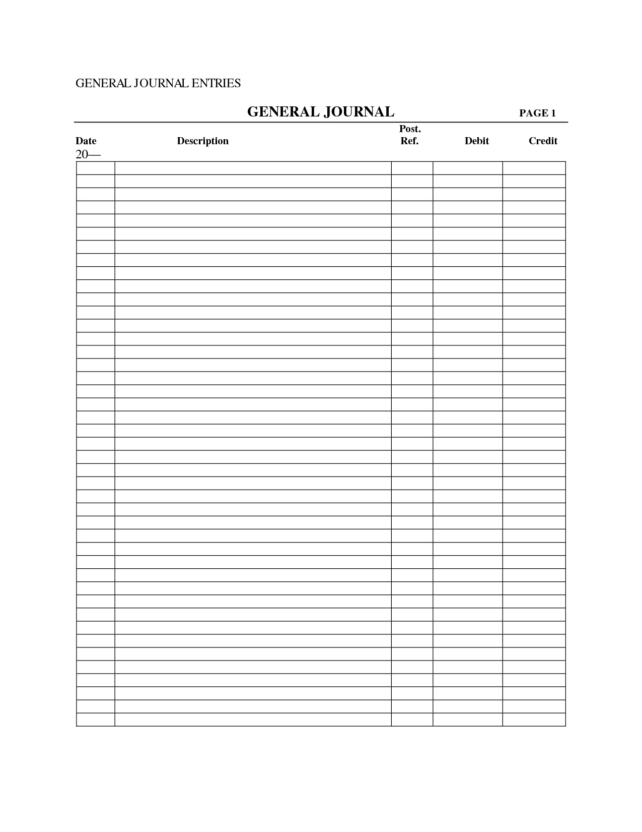 Accounting Journal Entry Template 30 Of Accounting General Journal Excel Template