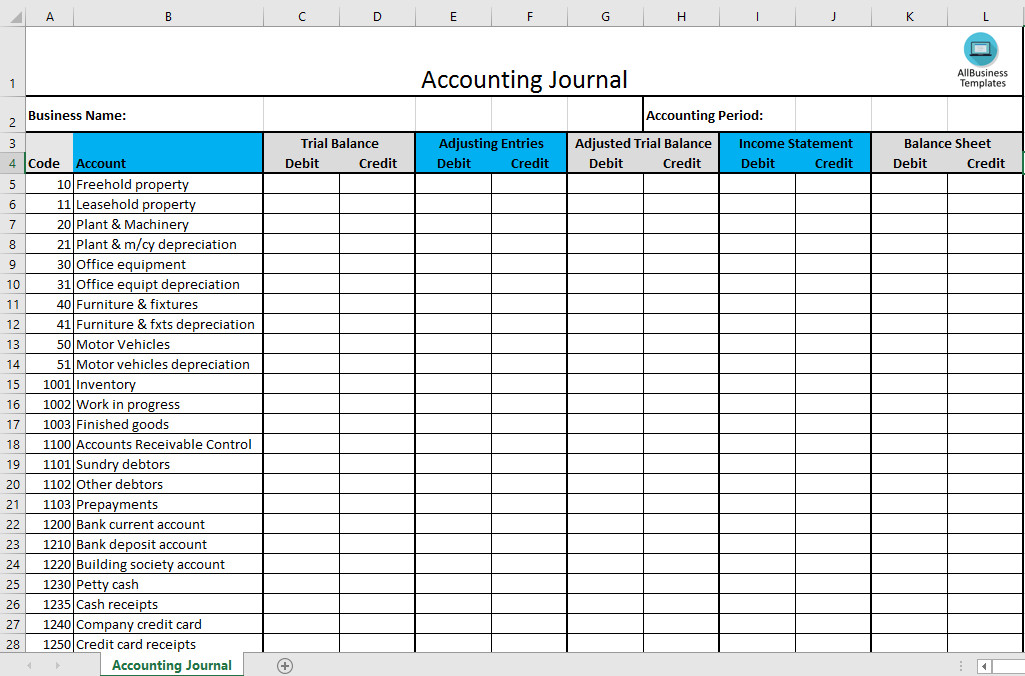 Accounting Journal Entry Template Accounting Journal Excel Template