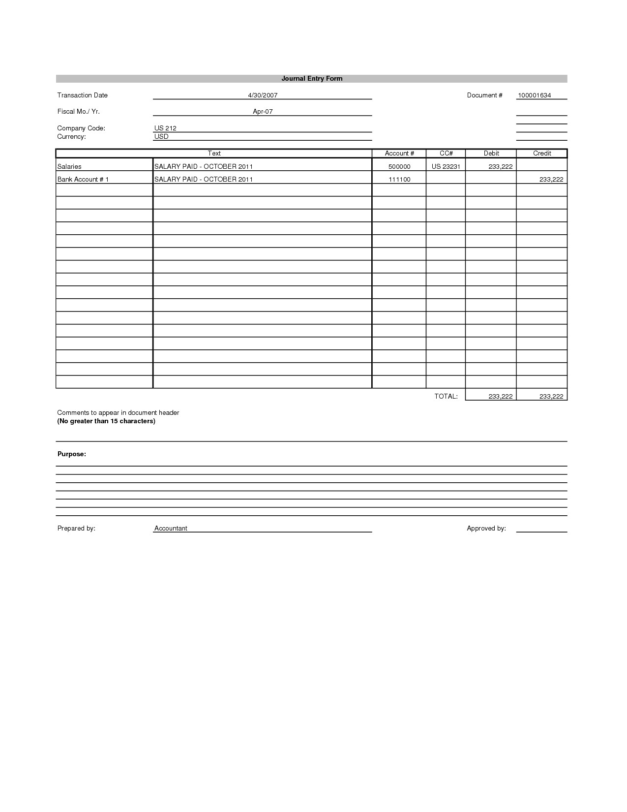Accounting Journal Entry Template Best S Of Journal Entry Template Excel Blank
