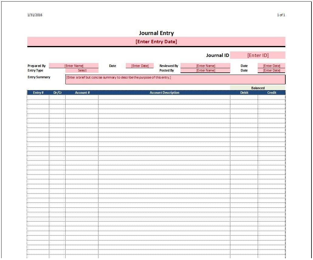 Accounting Journal Entry Template Journal Entry Template Spreadsheetshoppe