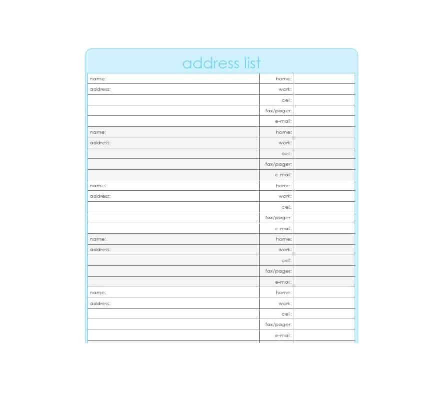 Address Book Template Excel 40 Printable & Editable Address Book Templates [ Free]