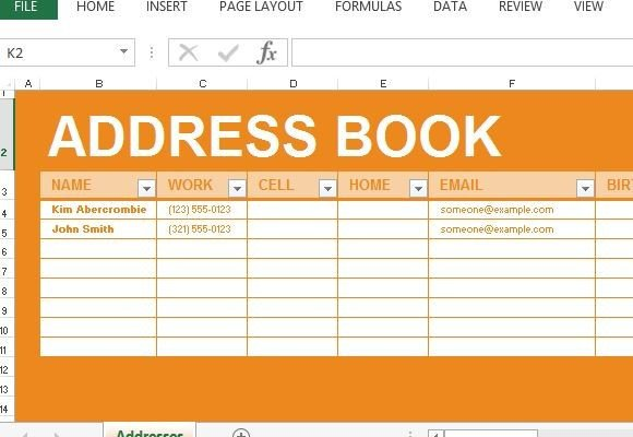 Address Book Template Excel Address Book Maker Template for Excel