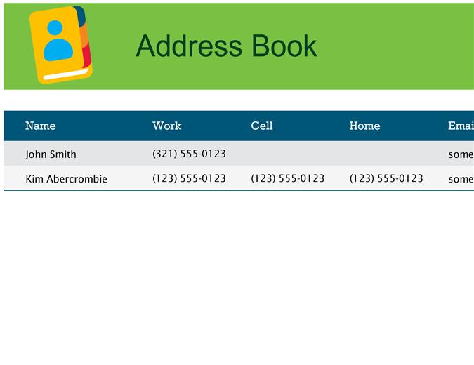 Address Book Template Excel Address Book
