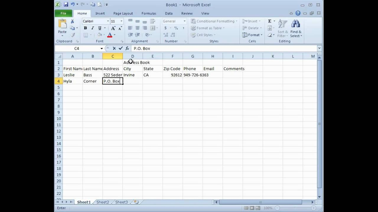 Address Book Template Excel Microsoft Excel Creating An Address Book