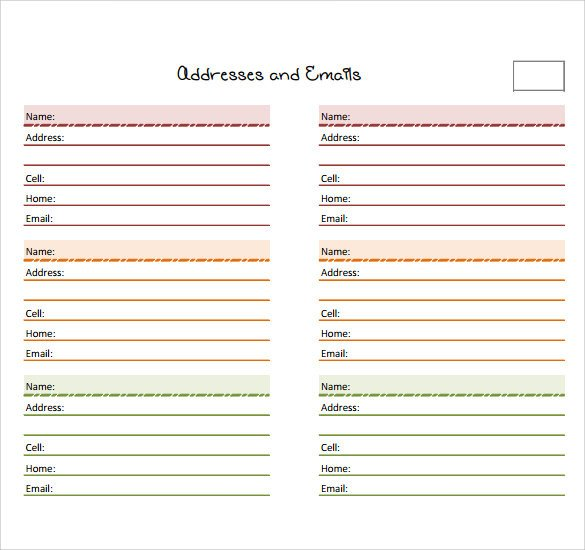 Address Book Template Excel Sample Address Book Template 9 Documents In Pdf Word Psd