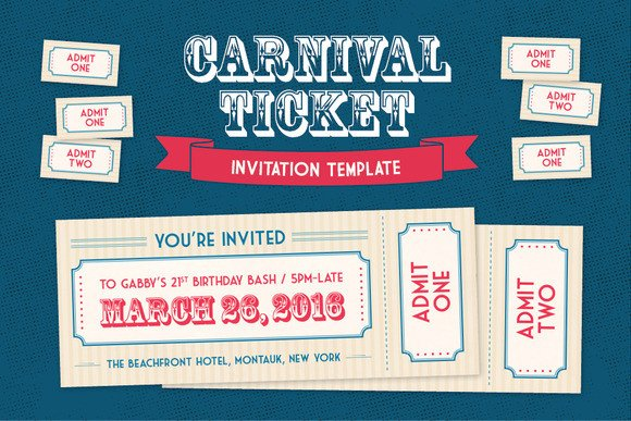 Admit One Ticket Template Admit E Carnival Ticket Template Designtube Creative