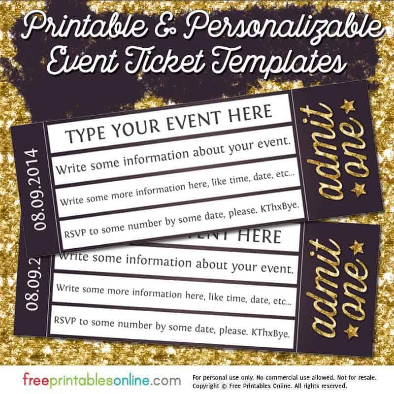 Admit One Ticket Template Admit E Gold event Ticket Template