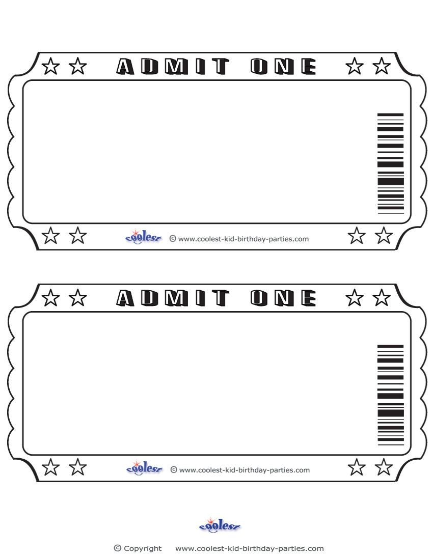 Admit One Ticket Template Blank Printable Admit E Invitations Coolest Free