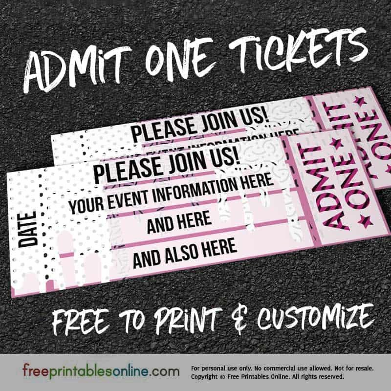 Admit One Ticket Template Drip Drop Admit E Ticket Template