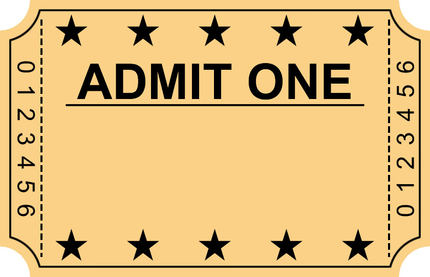 Admit One Ticket Template Entry Ticket Clipart Clipground