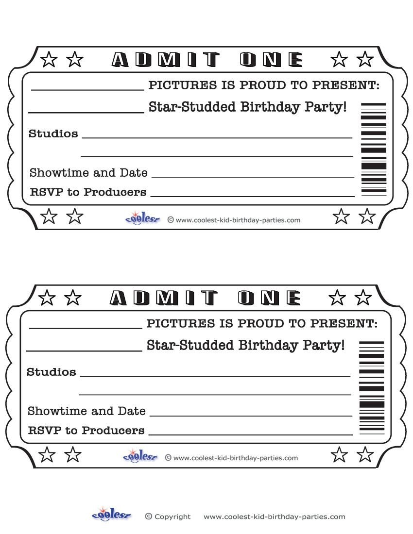 Admit One Ticket Template Printable Admit E Invitations Coolest Free Printables