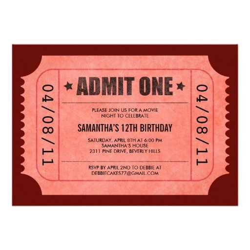 "Admit One Ticket Template Red Admit E Ticket Invitations 5"" X 7"" Invitation Card"