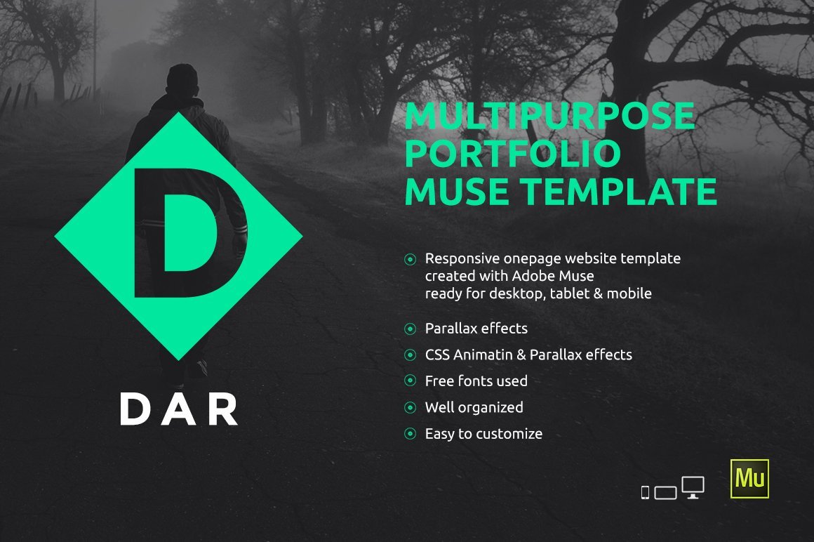 Adobe Muse Free Template Dar Responsive Adobe Muse Template Website Templates