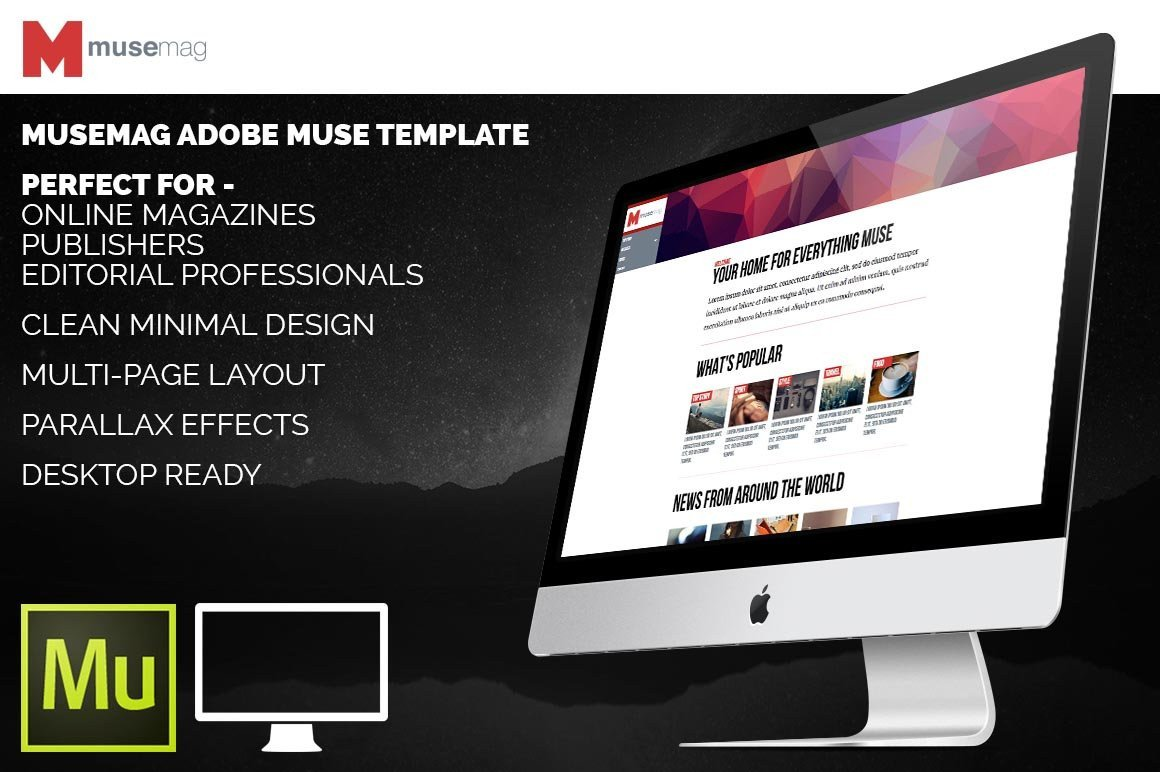 Adobe Muse Free Template Musemag Adobe Muse Template Website Templates