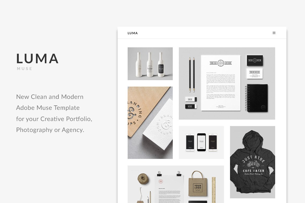 Adobe Muse Portfolio Templates Luma Creative Minimal Portfolio Adobe Muse Template On