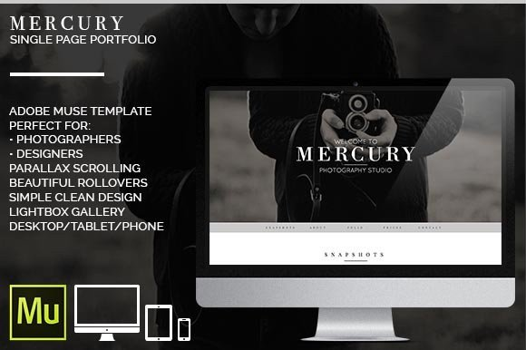 Adobe Muse Portfolio Templates Mercury Adobe Muse Portfolio Website Templates On
