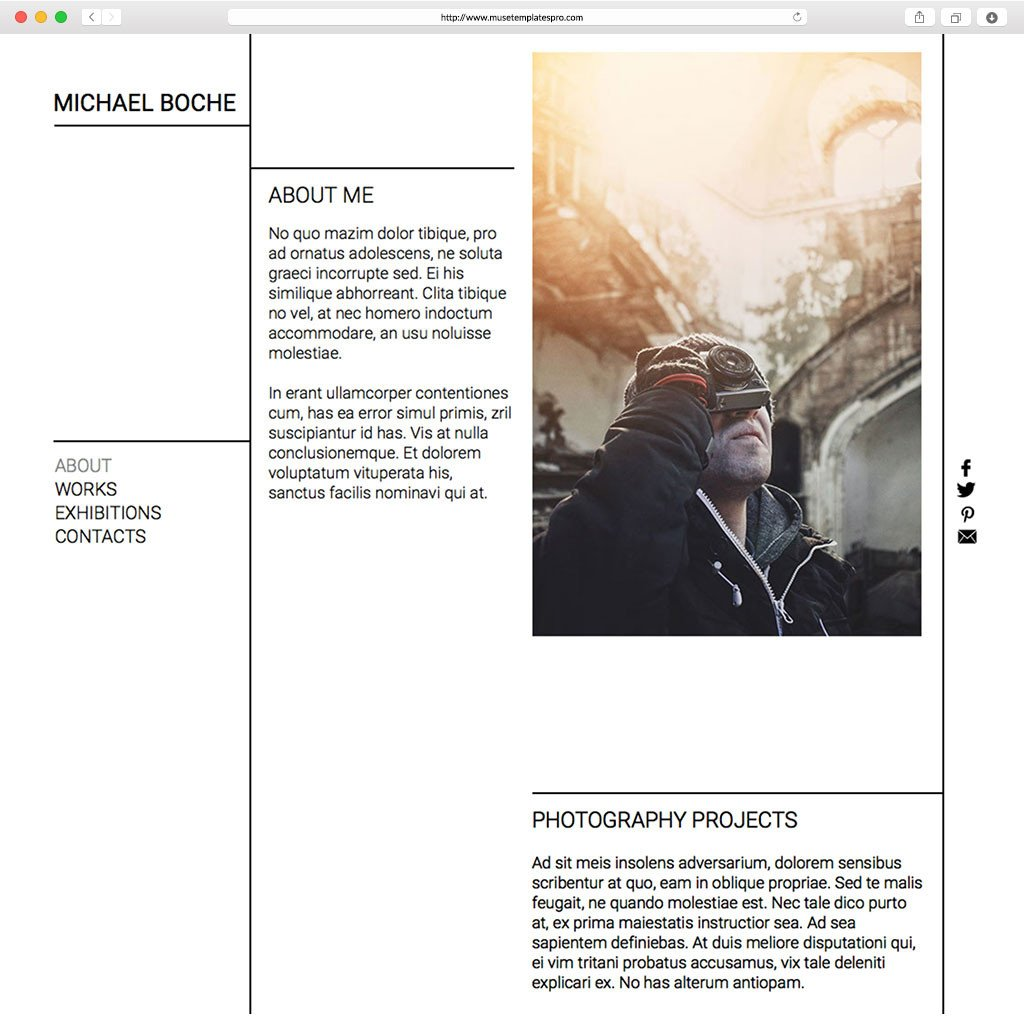 Adobe Muse Portfolio Templates Portfolio Adobe Muse Template by Musetemplatespro