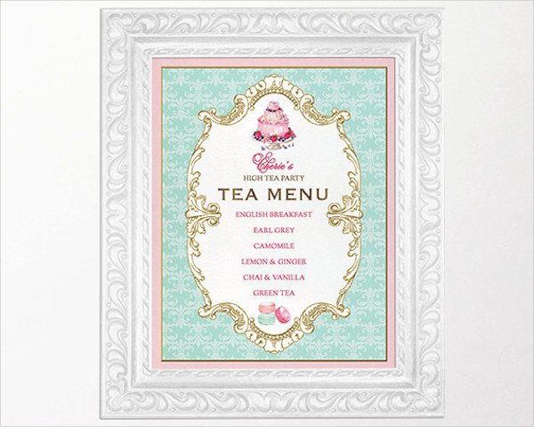Afternoon Tea Menu Template 42 Vintage Menu Designs Ai Pages Psd Docs