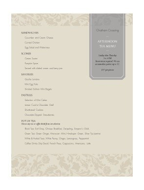 Afternoon Tea Menu Template afternoon Tea Menu