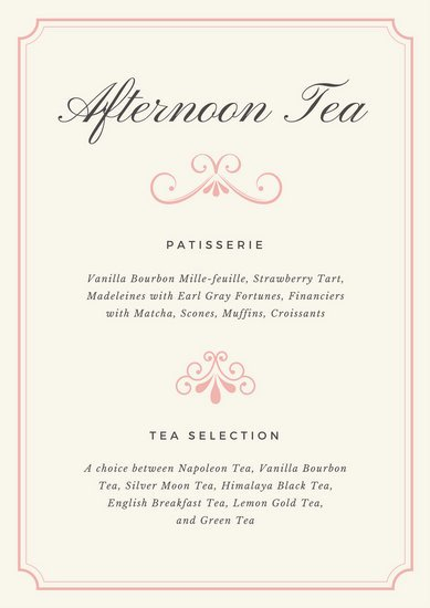 Afternoon Tea Menu Template Fancy Menu Templates by Canva