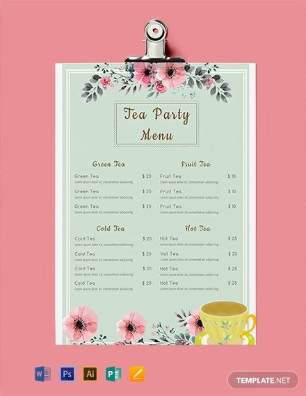 Afternoon Tea Menu Template Free Tea Party Menu Template Download 297 Menus In Psd