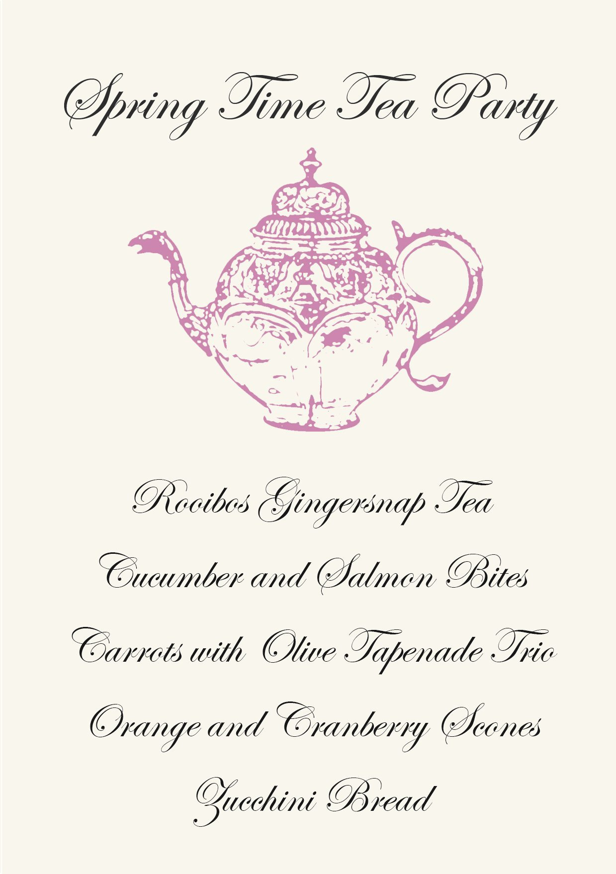 Afternoon Tea Menu Template Gather Menus Primal Palate