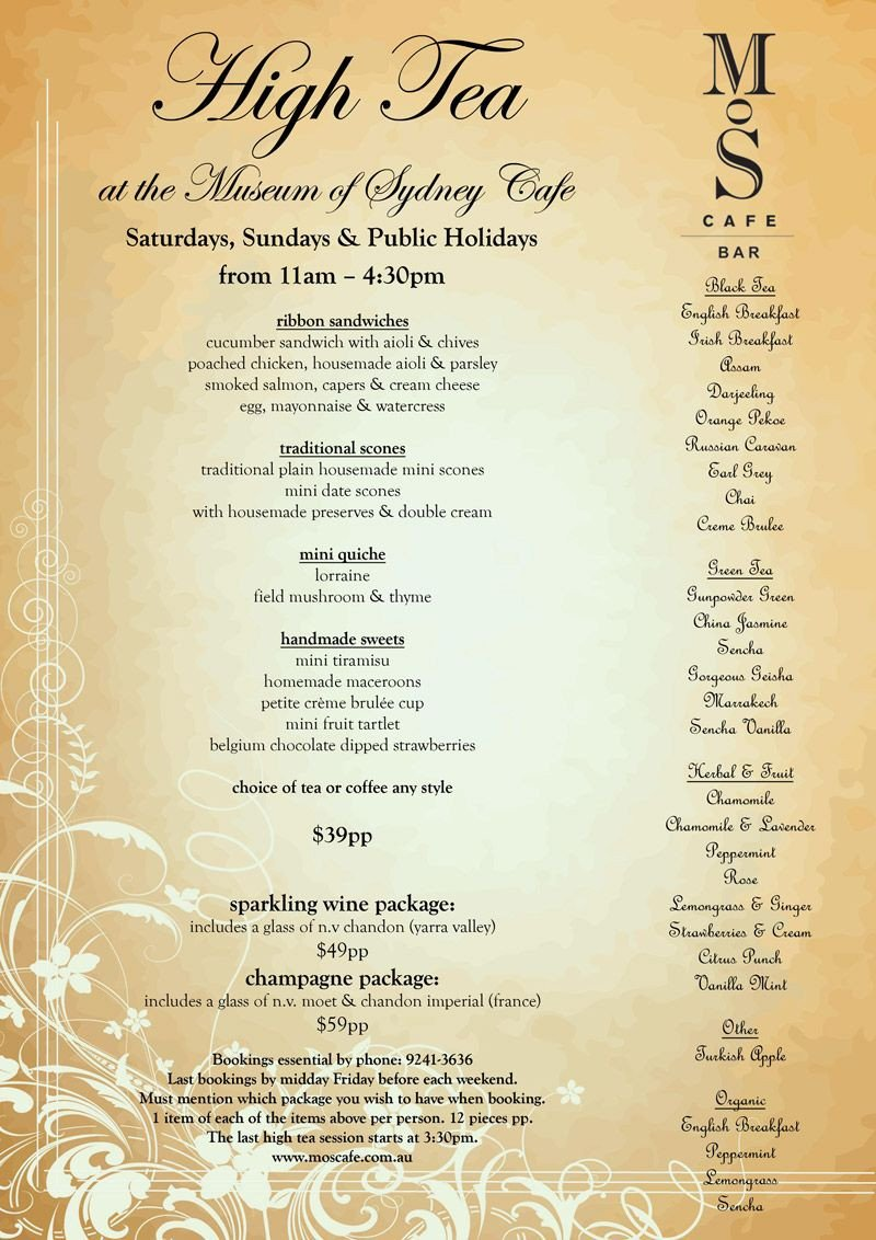 Afternoon Tea Menu Template High Tea afternoon Tea Sydney