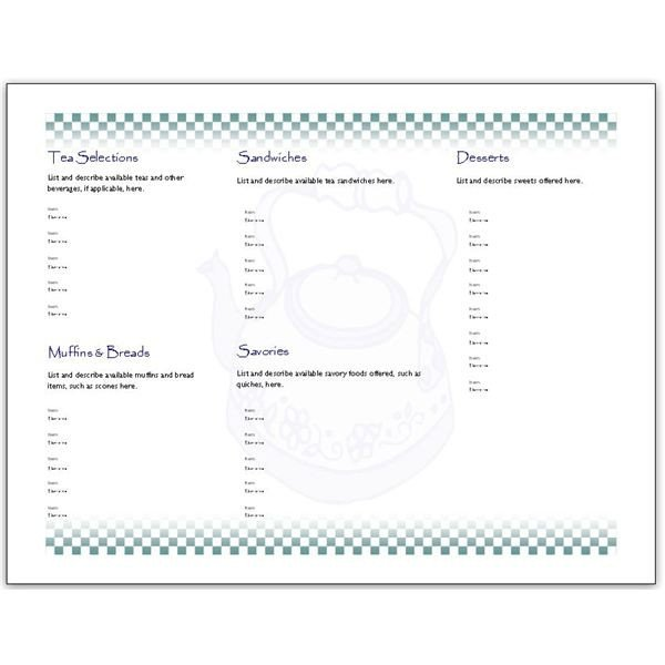 Afternoon Tea Menu Template Hosting A Tea Download An afternoon Tea Menu Template for